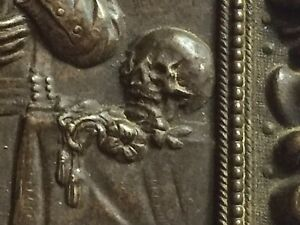 c 1890 Antique SAINT Gerardo Magella BRONZE METAL Framed SKULL ORNATE Frame