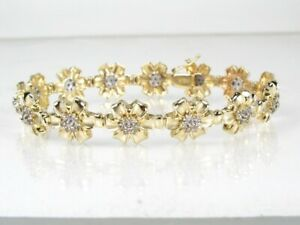 Estate 10k Yellow Gold 1.00ctw Diamond Tennis Flower Bracelet 13.3g 7.25