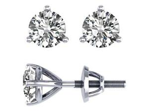 Martini Set Solitaire Stud Earrings SI1 G 1.01 Ct Natural Diamond 14K White Gold