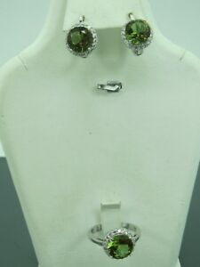 Turkish Handmade Jewelry 925 Sterling Silver Alexandrite Ladies' Earring Set