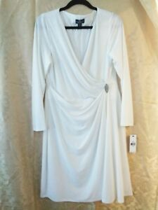 AMERICAN LIVING WHITE FAUX WRAP RUCHED SIDE V-NECK COCKTAIL DRESS SIZE 16 NWT
