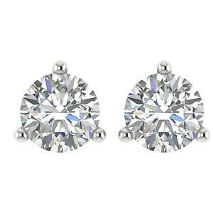 Solitaire Studs Earrings Martini Set Natural Diamond I1 G 0.65 Ct 14K White Gold