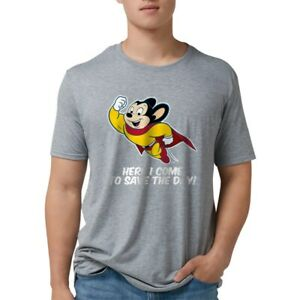 CafePress Mighty Mouse Here I Come T Shirt Mens Tri blend T Shirt 121511502