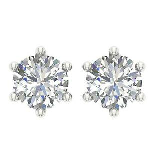 Solitaire Studs Earrings SI1 G 0.75 Ct Natural Diamond 14K White Gold Prong Set