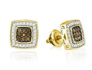 Chocolate Brown & White Diamond Earrings 10K Yellow Gold Square Studs .50ct