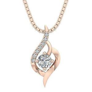 Cluster Solitaire Pendant Necklace I1 G 0.40 Carat Natural Diamond 14K Rose Gold