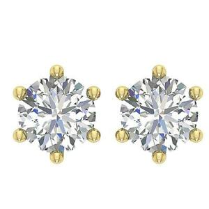 Solitaire Studs Earrings Round Diamond 0.45Ct I1 G 14K Yellow Gold Six Prong Set