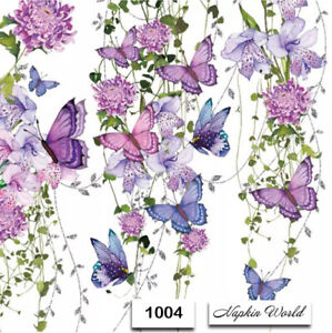 1004 TWO Individual Paper Luncheon Decoupage Napkins VINES BUTTERFLY FLOWERS