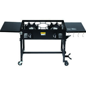 Outdoor Camping Propane Double Burner Stove Cooking Station BBQ Grill 58000 BTU