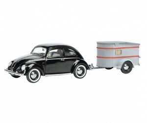 Schuco Model Car 1:43 VW Volkswagen Beetle Brezel black with Camping trailer