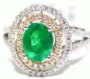 Vintage 18K Solid Gold Natural Emerald Diamond 2.24CT Engagement Wedding Ring