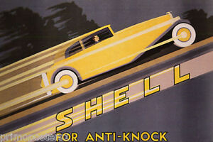 YELLOW CAR SPEED UPHILL SHELL ANTI KNOCK AUTOMOBILE VINTAGE POSTER REPRO