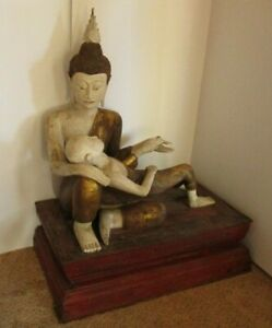 ANTIQUE 19TH CENTURY LIFE SIZE BUDDHA WOOD CARVING STATUE SCULPTURE ICONIC OLD