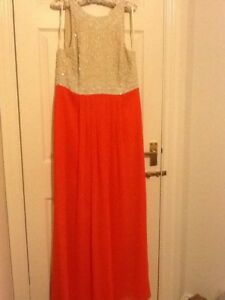 DEFINITIONS LONG BEADED DRESS orange biscuit Size 14 NEW Wedding Cruise party