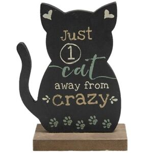 Just 1 Cat Away from Crazy Wood Sign Chalkboard Look NWT  Cat Lover Gift