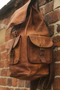 New Large Genuine Leather Backpack Rucksack Travel Bag For Men's and Women's
