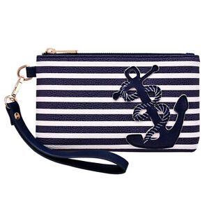 PU Leather Anchor Purse 8.5quot;x5.0quot; Wristlet Zip Coin Pouch Bag for Cellphone Key