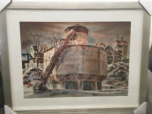 Signed A. Barbour Watercolor Industrial Scene Koppers Coke Paterson New Jersey