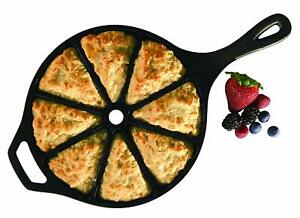 LODGE Cast Iron 8CB MADE IN USA 8-Slice Cornbread Scone Pan Black Heavy