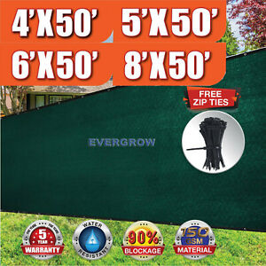 Dark Green 4' 5' 6' 8' tall Fence Windscreen Privacy Screen Shade Cover Mesh