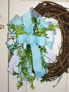 HANDMADE BOW with greenery for GRAPEVINE WREATH LANTERN any SUMMER Decor # 46 W $11.99