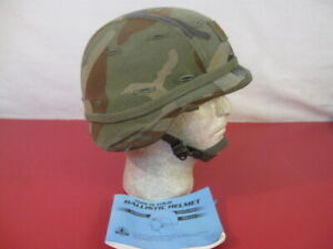 US Army PASGT Ground Troop Helmet made with Kevlar wWoodland Camo Cover - Lg #2
