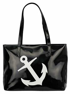 BLACK amp; WHITE PATENT LEATHER ANCHOR BEACH BAG TOTE