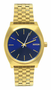 Nixon A0452735 Time Teller Blue Sunray Gold Stainless Steel Bracelet Watch New