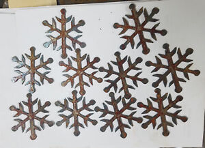Lot of 10 Metal 3quot; Dot Tipped SNOWFLAKES Rusty Metal Christmas Holiday Ornaments $8.00