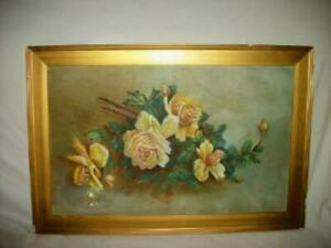 ANTIQUE ROSES OIL PAINTING 1890#x27;s VICTORIAN CHIPPY GILT FRAME OLDIE $269.99