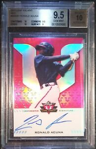 2017 LEAF VALIANT Ronald Acuna Red Superfractor Auto REAL 11 RC BGS 9.5 10