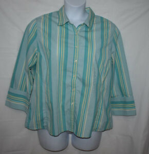 Merona Aqua, Green, and Yellow Striped Long Sleeve Blouse XXL