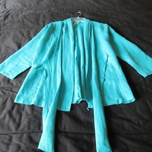 So Comfy Linen Cardigan Jacket Top Free Fall USA Turquoise Blue New S
