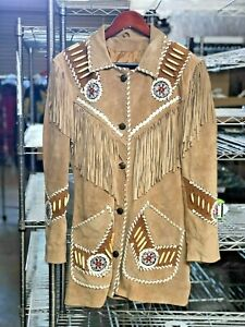 New Old West Leather Jacket w Embroidery Brown Suede Leather SMALL $89.00