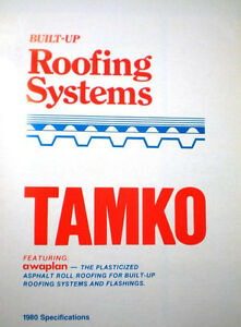 TAMKO Built Up Roof Roofing Systems Catalog ASBESTOS Specifications 1980 RARE!!