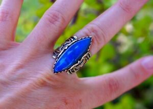 Genuine Blue Fire Labradorite 925 Sterling Silver Ring size 7