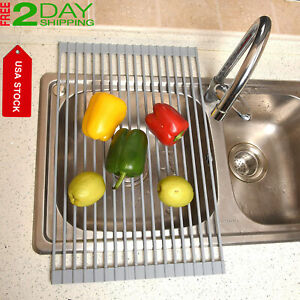 Best Sink Roll-Up Dish Drying Rack High Grade Stainless Steel, LARGE, Warm Gray