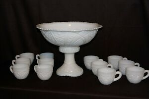 14 PC VINTAGE WHITE MILK GLASS PUNCH BOWL. PERFECT CONDITION !!! STUNNING!!!