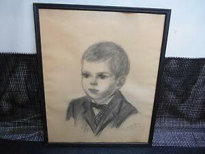 Old Vtg 1961 CHARCOAL SKETCH OF A CHILD Artist Signed Drawing Wall Hanging Decor $49.99