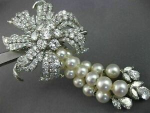 LARGE DAVID WEBB 21.31CT DIAMOND & AAA SOUTH SEA PEARL PLATINUM BROOCH NECKLACE