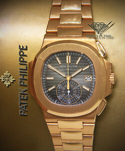 Patek Philippe Nautilus Chronograph 18k Rose Gold Mens Watch wBox 59801R