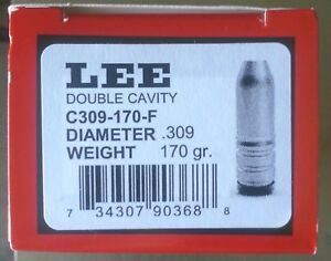 LEE 2-Cavity Bullet Mold C309-170 grain .30 CaliberGas Checked-Flat Nose #90368