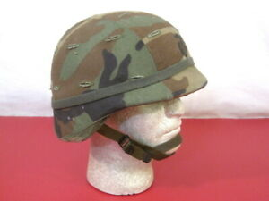US Army PASGT Ground Troop Helmet made with Kevlar w/Woodland Camo Cover Med #2