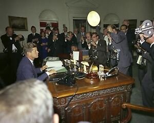 President Kennedy in Oval Office after signing Cuba Quarantine - New 8x10 Photo