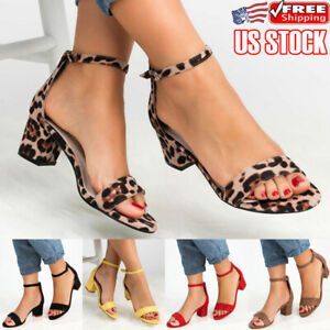 Womens Block Kitten Heels Sandals Ladies Ankle Strap Summer Casual Shoes Size US