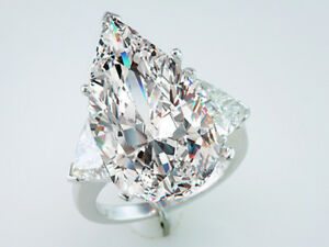 Diamond Engagement Ring GIA Certified 14.45cttw Pear Cut J-VS2 Platinum