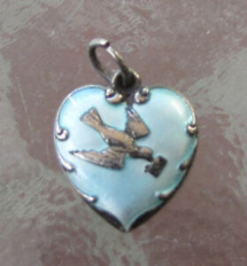 VINTAGE 1940's BABY BLUE NAMEL Puffy Heart Sterling Silver CHARM BIRD W MESSAGE