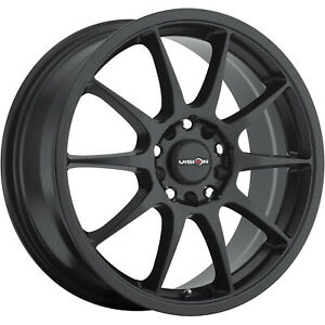 Vision Venom 17x7 4x1004x114.3 (4x4.5) +42mm Black Wheels Rims 425-7703MB42