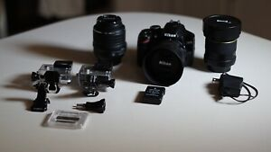 Camera Package: body 3 lenses and GoPro + 2 batteries.