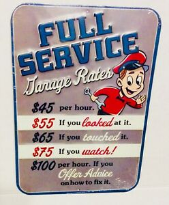 Full Service Garage Rates Tin Metal Sign 9.5 in. x 13 in. Wall Decor Auto Shop